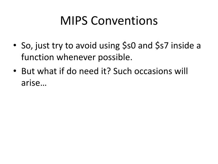 MIPS Conventions