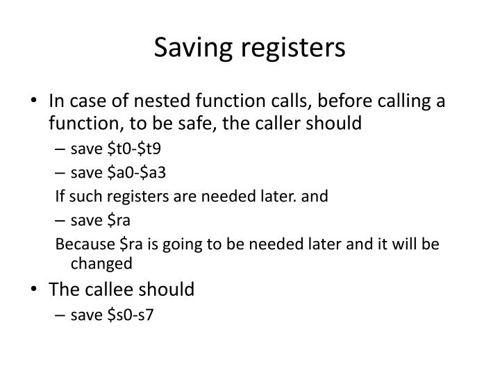 Saving registers