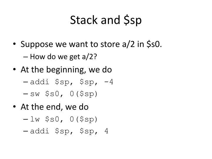 Stack and $sp