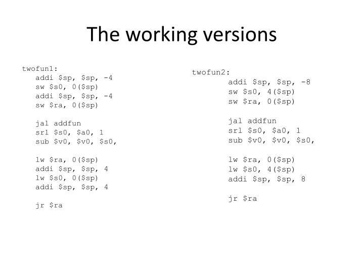 The working versions