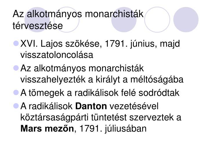 Az alkotmányos monarchisták térvesztése