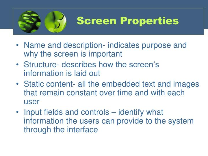 Screen Properties
