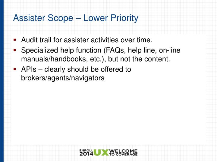 Assister Scope – Lower Priority