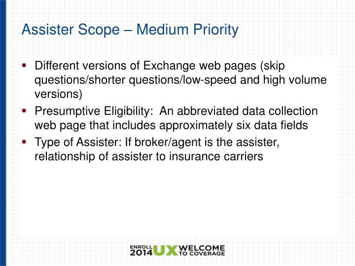 Assister Scope – Medium Priority