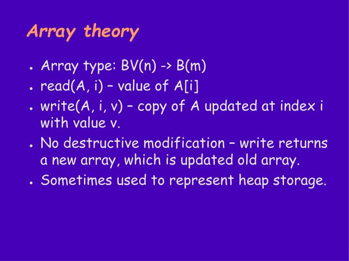 Array theory