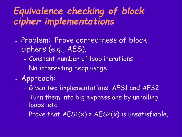 Equivalence checking of block cipher implementations