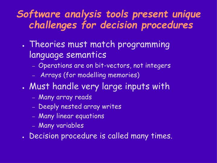 Software analysis tools present unique challenges for decision procedures