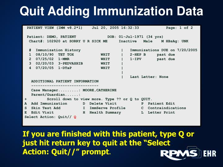 Quit Adding Immunization Data