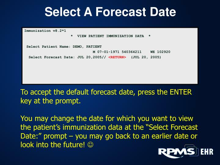 Select A Forecast Date