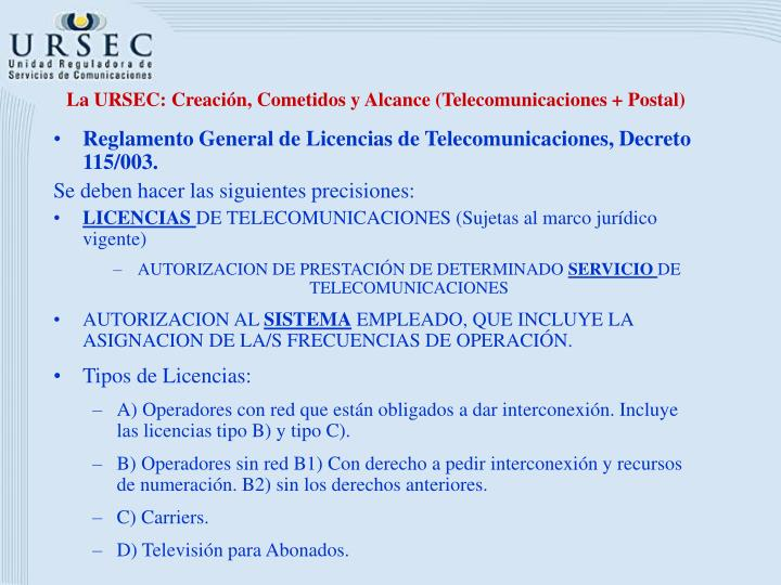 La URSEC: Creación, Cometidos y Alcance (Telecomunicaciones + Postal)