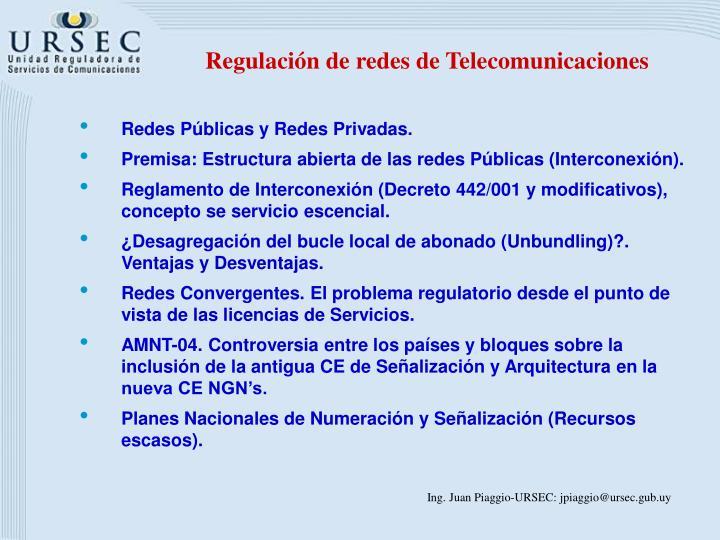 Regulación de redes de Telecomunicaciones