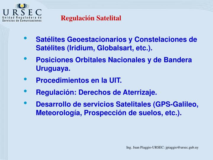 Regulación Satelital