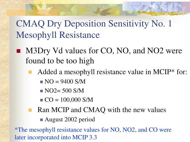 CMAQ Dry Deposition Sensitivity No. 1