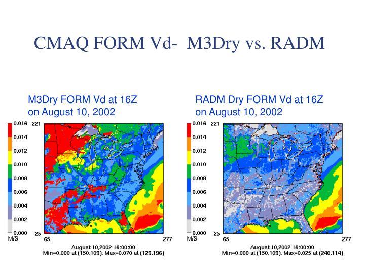 CMAQ FORM Vd-  M3Dry vs. RADM