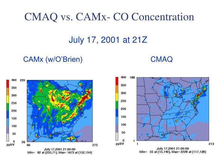 CMAQ vs. CAMx- CO Concentration
