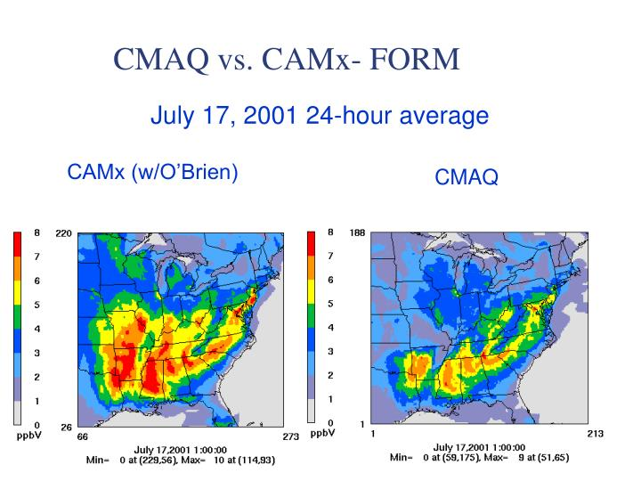 CMAQ vs. CAMx- FORM