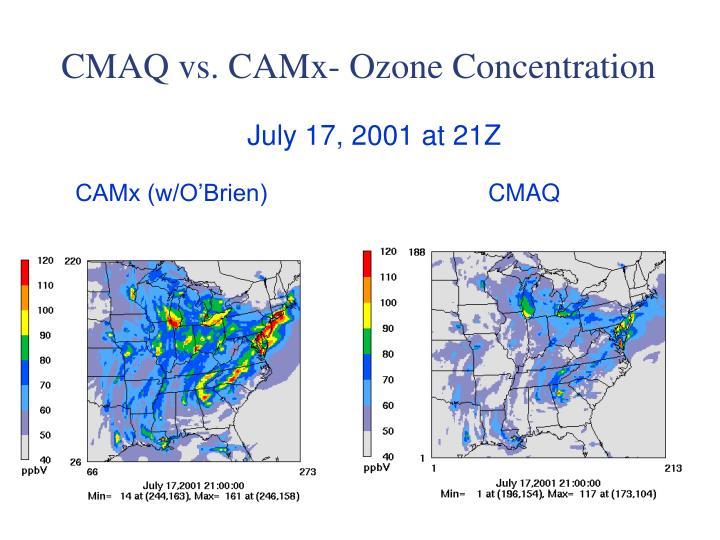 CMAQ vs. CAMx- Ozone Concentration