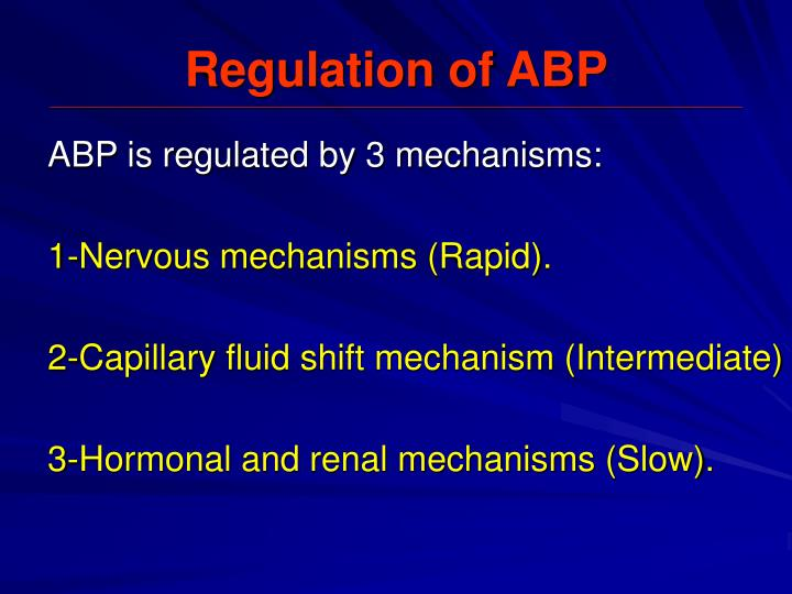 Regulation of ABP