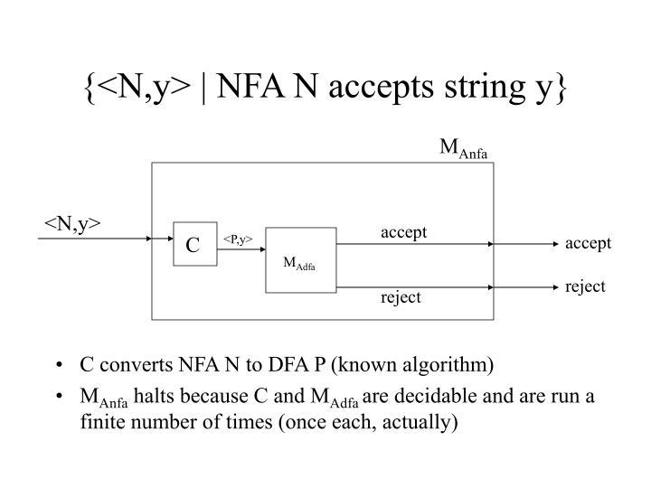 {<N,y> | NFA N accepts string y}