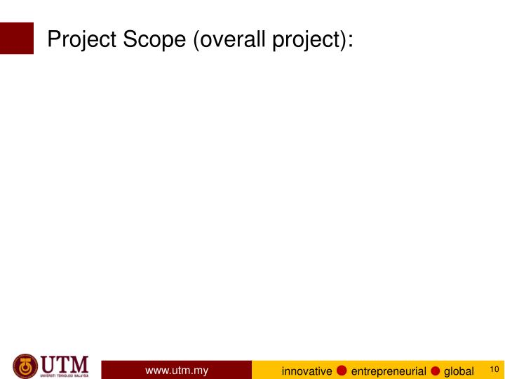 Project Scope (overall project):