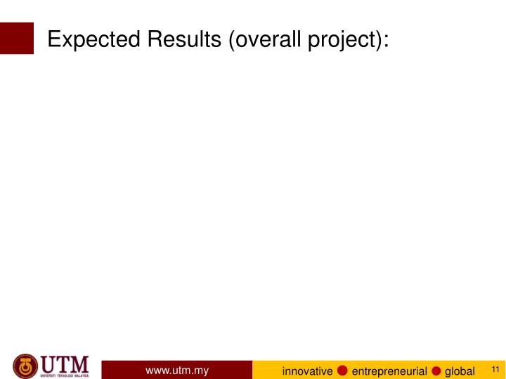 Expected Results (overall project):