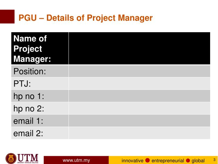 PGU – Details of Project Manager