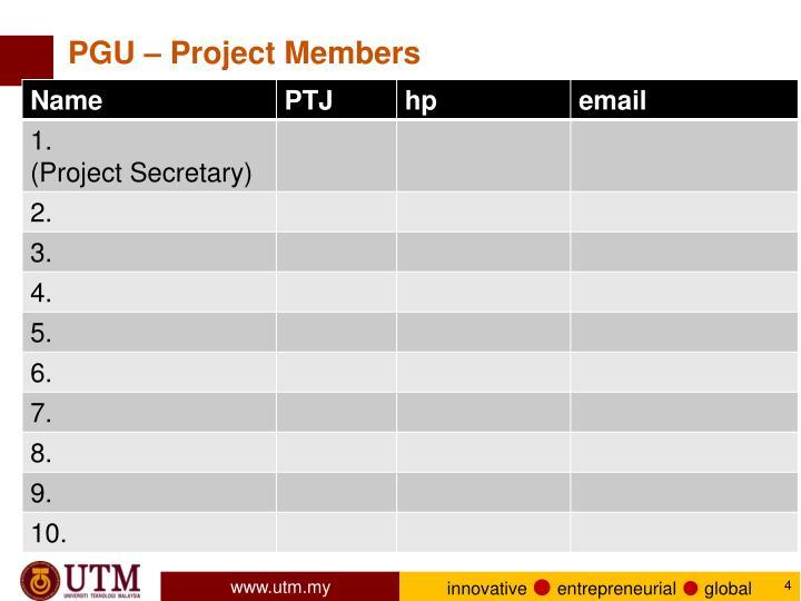 PGU – Project Members