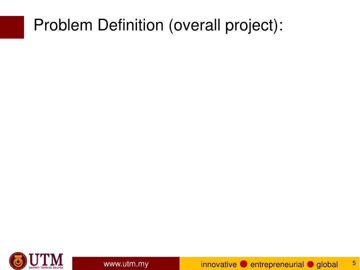Problem Definition (overall project):