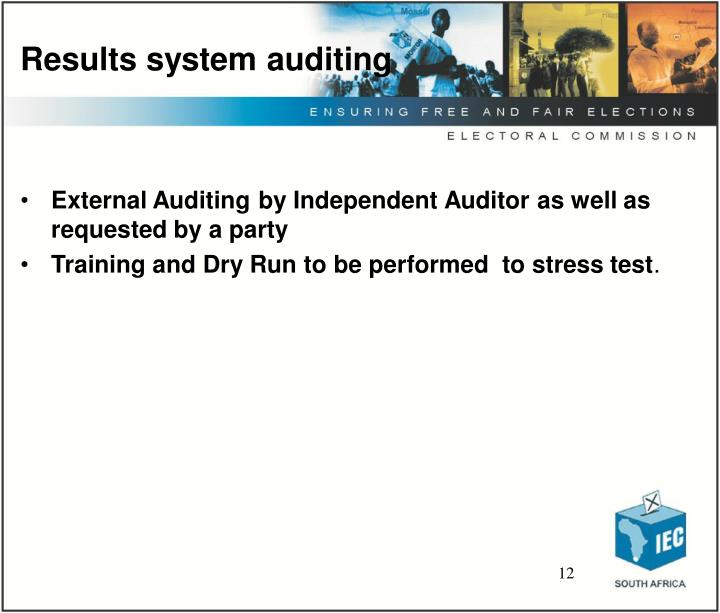 Results system auditing