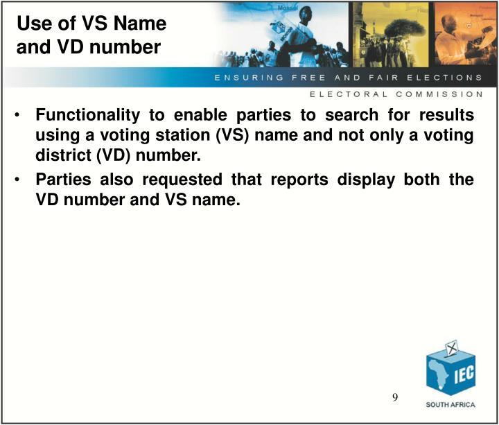 Use of VS Name