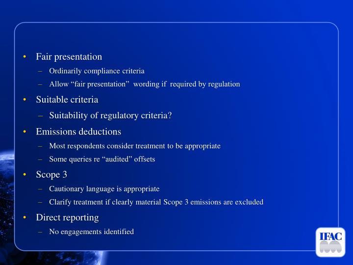 Fair presentation