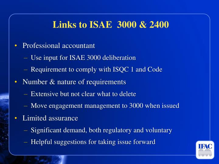 Links to ISAE  3000 & 2400
