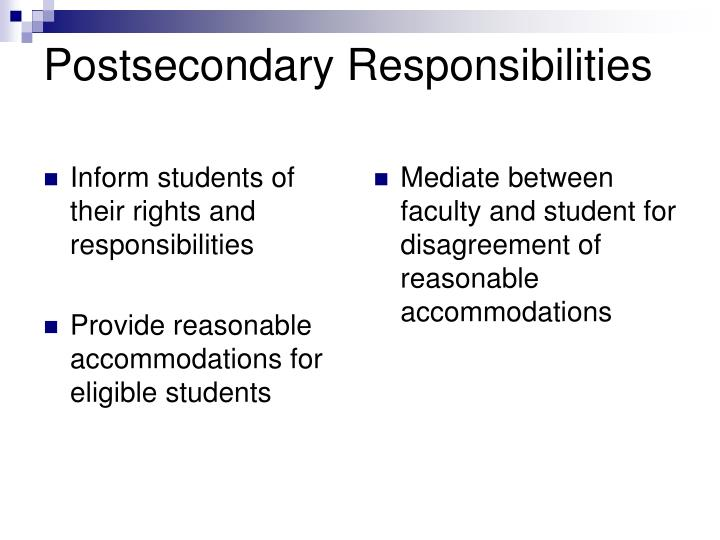 Inform students of their rights and responsibilities