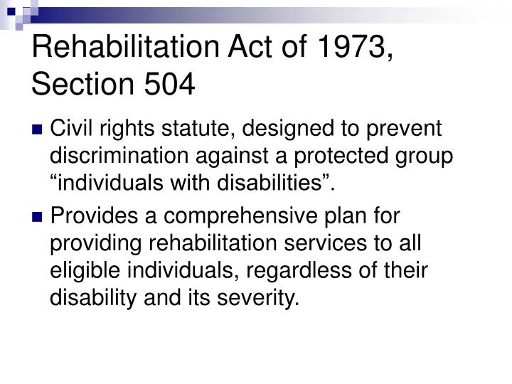Rehabilitation Act of 1973, Section 504