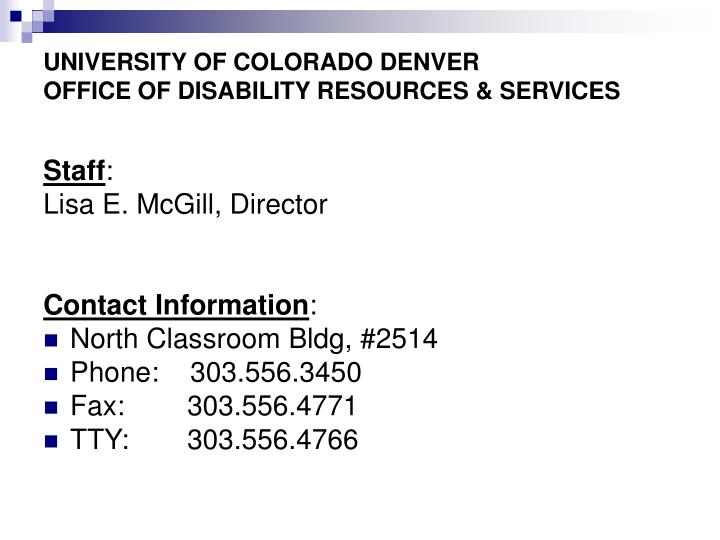 University of colorado denver office of disability resources services