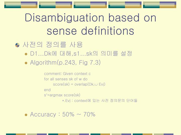 Disambiguation based on sense definitions