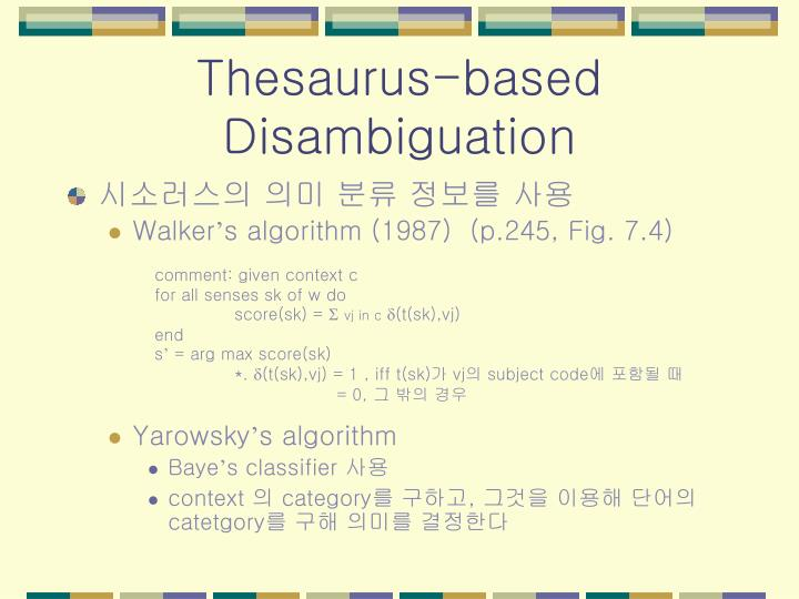 Thesaurus-based Disambiguation