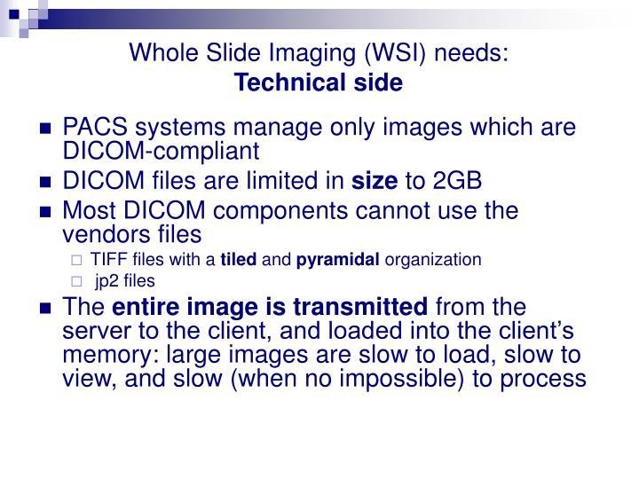 Whole Slide Imaging (WSI) needs: