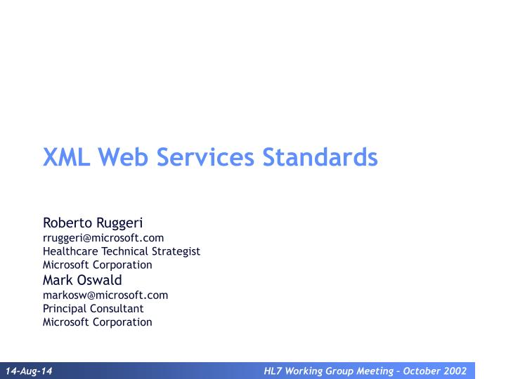 Xml web services standards