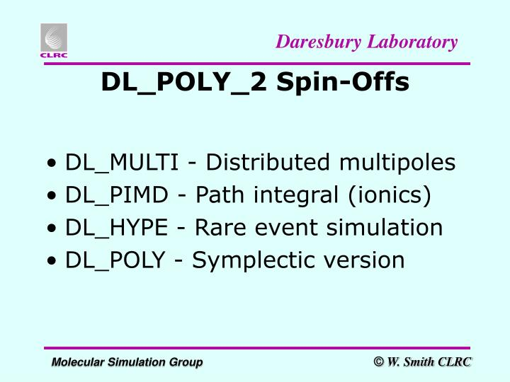 DL_POLY_2 Spin-Offs