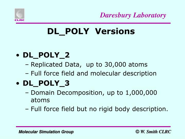 Dl poly versions