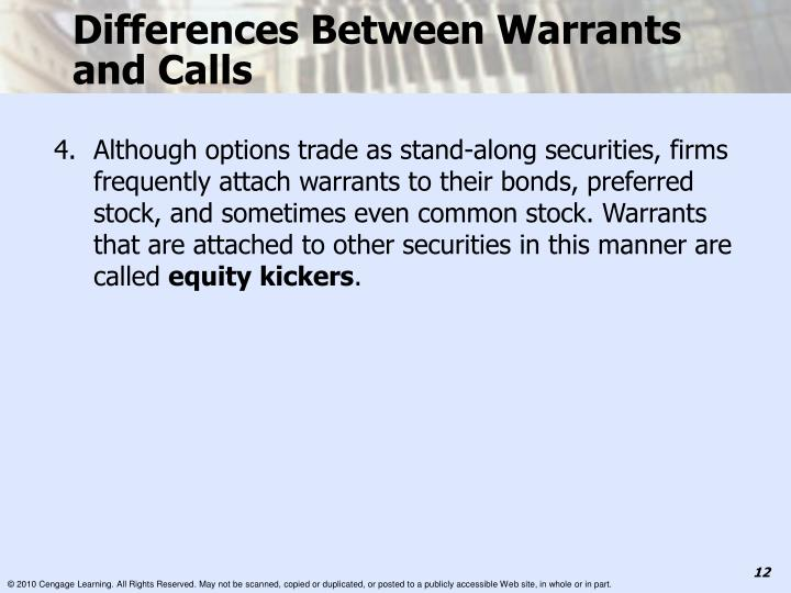 Differences Between Warrants and Calls