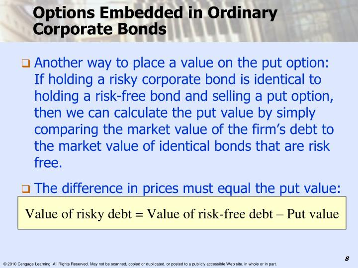 Options Embedded in Ordinary Corporate Bonds