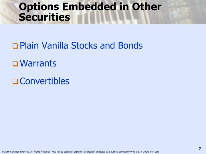 Options Embedded in Other Securities