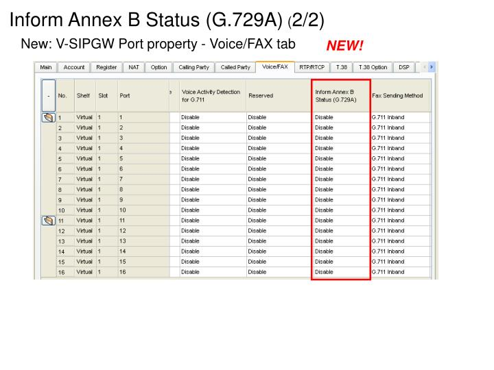 Inform Annex B Status (G.729A)