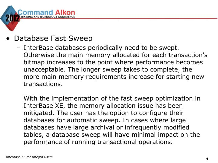 Database Fast Sweep