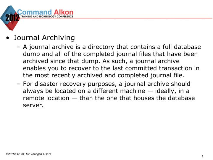 Journal Archiving