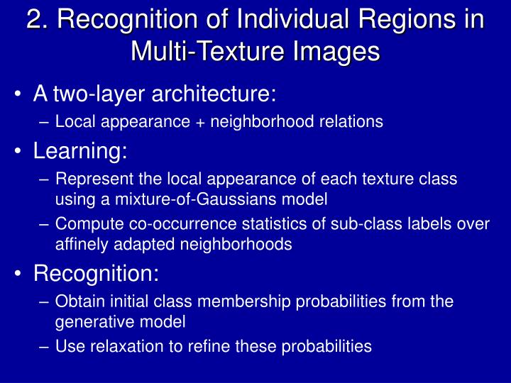 2. Recognition of Individual Regions in Multi-Texture Images