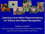 learning local affine representations for texture and object recognition