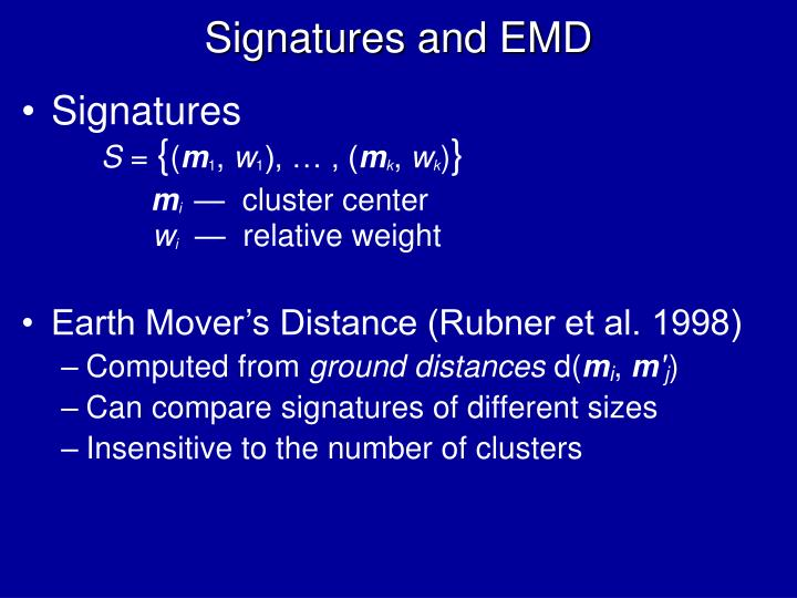 Signatures and EMD